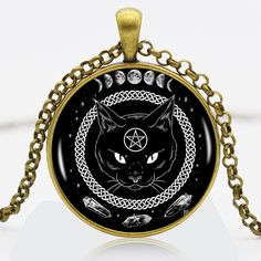 Find More Pendant Necklaces Information about Black Cat Alchemy Phases Of The Moon Logo Bronze Chain Women Choker Statement Bronze Pendant Necklace For Men Dress Accessories ,High Quality necklace pendants wholesale,China pendant crystal Suppliers, Cheap pendant from DreamFire Store on Aliexpress.com