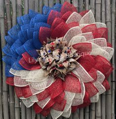 Lily's Wreath Boutique by LilysWreathBoutique Chevron Burlap Wreaths, Burlap Flowers, Diy Flowers, Flower Wreaths, Patriotic Wreath, Patriotic Decorations, 4th Of July Wreath, Make Your Own Wreath, How To Make Wreaths