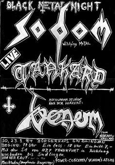 """Old-school heavy metal, death metal, black metal, thrash metal flyers. Newcastle, Venom Band, Venom Black Metal, Concert Flyer, Wallpaper Stickers, Metal Tattoo, Heavy Metal Music, Tour Posters, Thrash Metal"