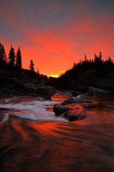 Elbow Falls sunrise at Kananaskis, Alberta, Canada