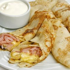 Ham and Cheese Crepes Baby Food Recipes, Mexican Food Recipes, Cooking Recipes, Healthy Recipes, Tapas, Kids Meals, Easy Meals, Food Porn, Pancakes And Waffles