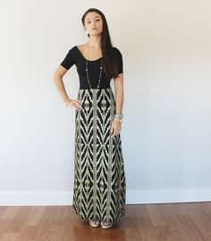 Hand Printed 'Southwest' Maxi Skirt in Gold on by thiefandbandit, $75.00