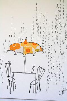 Picnic table umbrella illustration