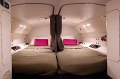 Where do airline workers sleep during long haul flights? These images reveal all Attic Spaces, Tiny Spaces, Low Deck, Boeing 787 Dreamliner, Cabin Pressure, Aircraft Interiors, Rest Area, Long Flights, Secret Rooms