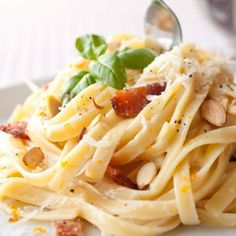 Creamy Fettuccine With Bacon, Almonds And Orange