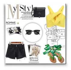 """""""ROMWE BLACK DENIM SHORTS"""" by sandra-smileska ❤ liked on Polyvore featuring Delpozo, Clips, Assouline Publishing and Chanel"""