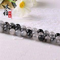 久雅 天然水晶 黑发晶散珠 发晶半成品 DIY饰品配珠 串珠 批发