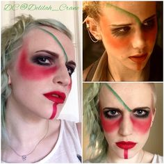 So I was bored and couldn't resist a bit of #cosplay #makeup today and figured I would post it. This look is from my all-time-favourite tv show as a kid called The Tribe. It's what got me into dying my hair crazy colours and painting my face. This look is from the first episode of my favourite character Amber. #makeupforever #thetribe #thetribeseries #amberthetribe #dressyourface #whythefucknot #selfie #warpaint
