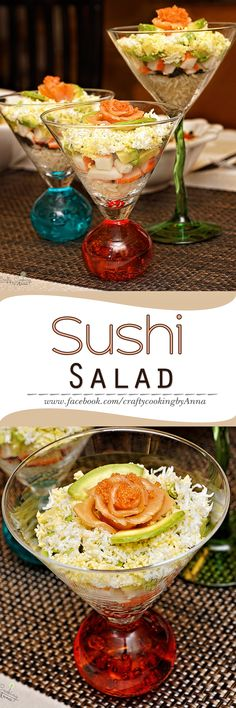 Sushi Salad in Cocktail glasses Sushi Recipes, Asian Recipes, Appetizer Recipes, Cooking Recipes, Appetizers, Sushi Salad, How To Make Sushi, Getting Hungry, Exotic Food