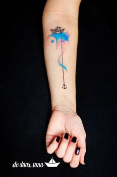 I love this little boat! 128 Cool Watercolor Tattoos Ideas