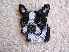 Brick Stitch Boston Terrier Earrings