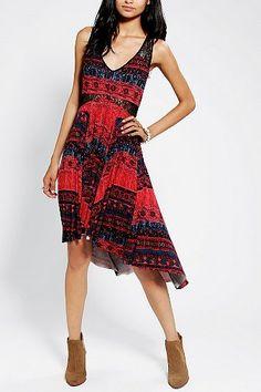 Ecote Lace-Inset High/Low Midi Dress