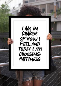 """Typography Print Motivational Wall Decor """"I Am In Charge of How I Feel"""" Home Decor Hand Paint Handwriting Style Quote Print Fathers Day"""