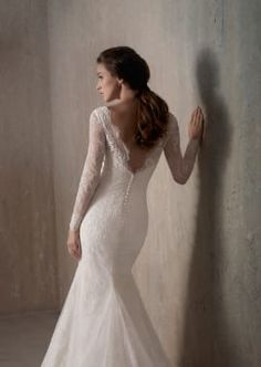 Backless Long Sleeve Chantilly Lace Wedding Dress with Illusion Neckline