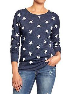 Womens Star-Print Long-Sleeve Sweatshirts