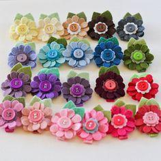 Felt Flower Daisy Hair Clip Pure Colors You by PrettyinPosies