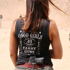 Customer Photo: Good Girls. Carry Guns. Women's T-Shirt.