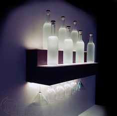 LED Baseline's 2 Tier LED Display Shelf feature a thin first tier shelf and a taller second tier that serves as an excellent bottle display shelf. Bar Shelves, Wine Shelves, Display Shelves, Floating Shelves, Wall Bar Shelf, Shelving, Linear Lighting, Bar Lighting, Pallet Accent Wall