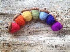 Rainbow Acorns custom Waldorf wool toys decoration home decor for the home craft supply handmade colourful Autumn Fall acorns rainbow pastel