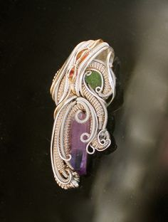 Amethyst chrome tourmaline herkimer diamond and two fancy sapphires