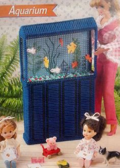 Rare Fashion Barbie Kelly Doll House Aquarium Handmade Fish Tank Plastic Canvas…