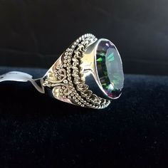 Mystic Topaz 925 Sterling Silver Fine Cocktail Ring Filigree Sz 7.5 Genuine  #Cocktail Mystic Fire Topaz, Aquamarine Blue, Cocktail Rings, Filigree, Sterling Silver Rings, Jewelery, Gemstone Rings, Fine Jewelry, Things To Sell