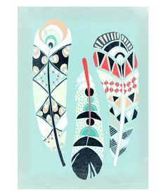 Three Feathers Art Print by lauraamiss on Etsy