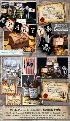 Pirate Birthday, Pirate Party, 7th Birthday, Pirate Drinks, Birthday Party Decorations, Birthday Parties, Printing Services, Online Printing, Party Co