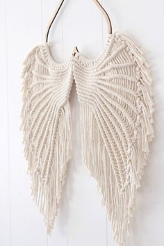 Angel Wings Macrame- Macrame Wallhanging- Angel Wings Wall Decor- Angel Wings Art- Macrame Wall Decor- Angel Wings – Keep up with the times. Etsy Macrame, Macrame Art, Macrame Projects, Macrame Knots, Macrame Mirror, Macrame Curtain, Angel Wings Art, Angel Wings Wall Decor, Angel Art