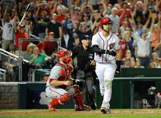 Epic bat flip:      The Nationals' right fielder Bryce Harper flips his bat after hitting a three run homer against the Phillies on Sept. 10 in Washington. The Nationals won 3-0.