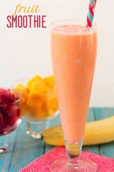 Smoothie recipes - fresh fruit drinks drinks рецепты, еда, в Mango Recipes, Fruit Smoothie Recipes, Fruit Drinks, Yummy Smoothies, Juice Smoothie, Smoothie Drinks, Yummy Drinks, Healthy Drinks, Protein Smoothies