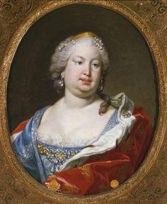 Marie-Barbara de Bragance, infante de Portugal, reine d'Espagne, à 35 ans, en 1746, par Van Loo