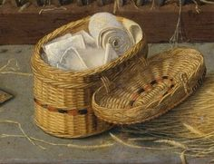 sewing basket Date: ca. 1510–15 Gerard David - Detail from The Nativity with Donors and Saints Jerome and Leonard. 15th century Netherlandish painting in the MET.