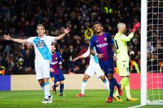 Paulinho of FC Barcelona celebrates after scoring his sides second goal during the La Liga match between FC Barcelona and Deportivo La Coruna at Camp Nou on December 17, 2017 in Barcelona.
