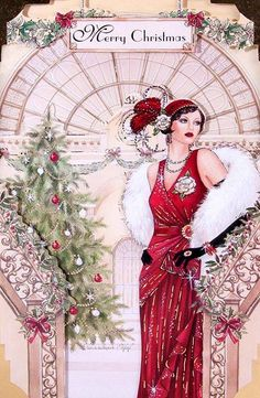 Art Deco Woman in Red Merry Xmas