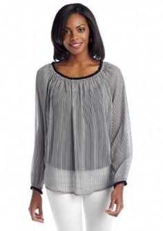 Sunny Leigh  Railroad Stripe Woven Blouse
