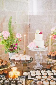 Prettiest sweets table   Photography: One Love Photo - onelovephoto.com  Read More: http://www.stylemepretty.com/california-weddings/2014/04/28/romantic-al-fresco-temecula-wedding/