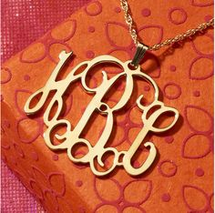 Large Gold Tone Floating Monogram Pendant available at Three Hip Chicks.  Stunning!!  #monogrammedgift #personalizedgift #monogrammednecklace #threehipchicks