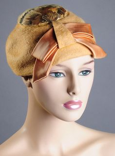 Gorgeous 60's Mustard Feathered Hat by Merri by VampVintageWear