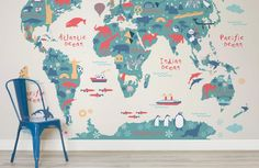 Explorer Kids World Map Mural, custom made to suit your wall size by the UK's for murals. Custom design service and express delivery available. Explorer Kids World Map Mural, custom made to suit your wall size by the UK's World Map Bedroom, World Map Mural, Kids World Map, World Map Wallpaper, Nursery Wallpaper, Wallpaper Ideas, Cool Kids Bedrooms, Kids Bedroom Designs, Bedroom Kids