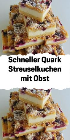 Quick curd crumble cake with fruit - Obst Decor Scandinavian, Cake Mix Recipes, Eating Plans, Eating Habits, Bakery, Food And Drink, Sweets, Fruit, Breakfast
