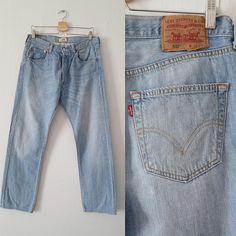 Levis 501 jeans, stonewash light blue denim, straight leg, mens pants  trousers, button fly, waist 33, leg 33 8051835fbb