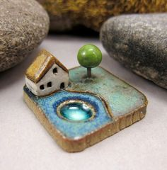 MyLand++Sauna+Cottage++Collectible+3x3+cm+or+1.2x1.2+in.+by+elukka