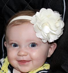 SALE Boutique Baby Girl Ivory Satin and by CamdynReeseHeadbands, $5.95