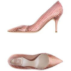 Dior Court ($440) ❤ liked on Polyvore featuring shoes, pumps, pink, pink pumps, reptile shoes, spiked heel shoes, spiked heel pumps and christian dior shoes