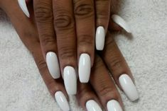 Acrylic Nails Coffin Short, Simple Acrylic Nails, Best Acrylic Nails, Acrylic Nail Designs, White Gel Nails, White Short Nails, White Summer Nails, White Manicure, White Coffin Nails