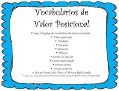 Place Value Spanish Vocabulary
