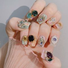 Nail art April 28 2020 at nails Nail Art Rhinestones, Rhinestone Nails, Glitter Nail Art, Fancy Nails, Trendy Nails, Cute Nails, Korean Nail Art, Korean Nails, Diamond Nail Art