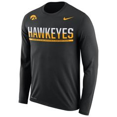Fanatics.com - Nike Iowa Hawkeyes Nike Staff Sideline Legend Performance Long Sleeve T-Shirt - Black - AdoreWe.com