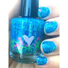 Party In A Bottle / NEON PINK / NEON Green / Blue Glitter Handmade... ($8.75) ❤ liked on Polyvore featuring beauty products, nail care, nails, makeup, nail polish, beauty и nail art